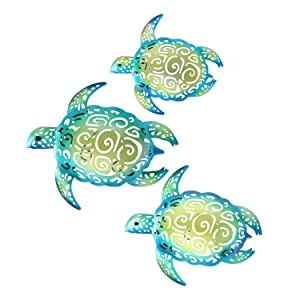 YOUIN Set of 3 Metal Sea Turtle Nautical Decor Wall Art Decorations for Indoor Outdoor Bathroom Garden
