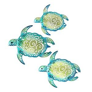 YOUIN Set of 3 Metal Sea Turtle Nautical Decor Wall Art Decorations for Indoor Outdoor Bathroom Garden