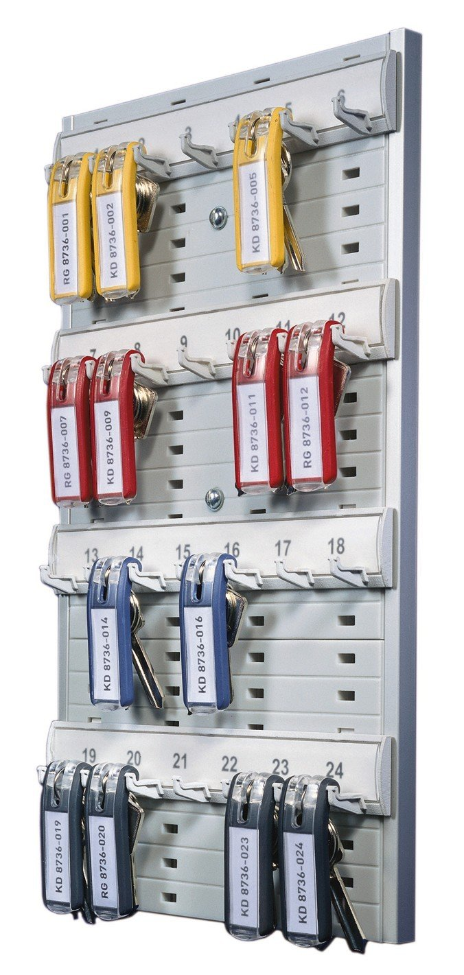 DURABLE Open Key Rack, Holds 24 Key Tags, 14-3/8 x 8-3/4 x 1-3/8 Inches, Plastic, Gray (195610)