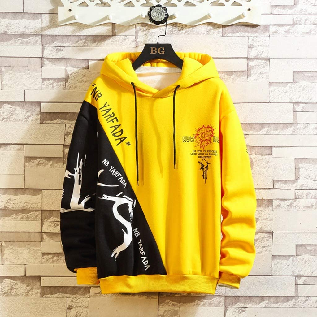 BingYELH Mens Hoodies Fashion Contrast Color Letter Drawstring Hoodie Long Sleeve Casual Pullover Sweatshirt