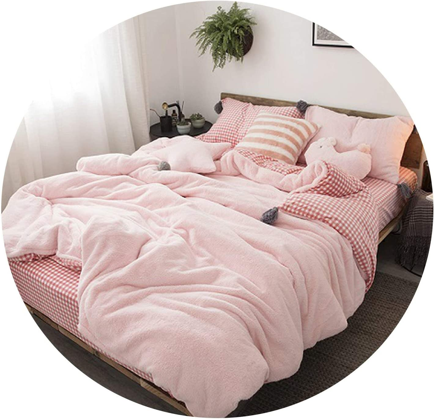 Amazon Com Moon Home Textile White Gray Pink Soft Winter Thick Fleece Fabric Girl Bedding Set Velvet Flannel Duvet Cover Bed Linen Fitted Sheet Pillowcases 3 Full Size 6pcs Fitted Sheet Style Home Kitchen