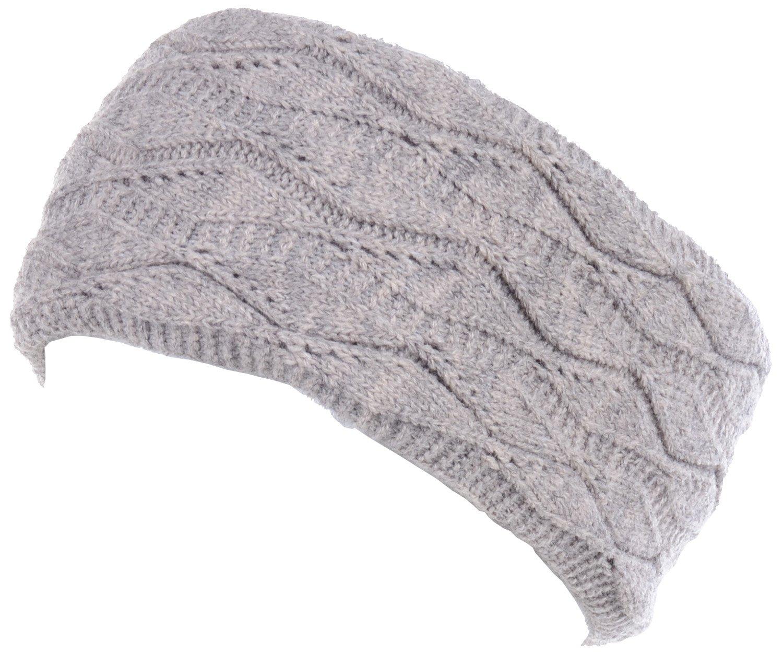 BYOS Cold Weather Warm Fleece Lined Crochet Knit Stretchy Fit Headband Ear Warmer,Many Styles (Leafy Beige)