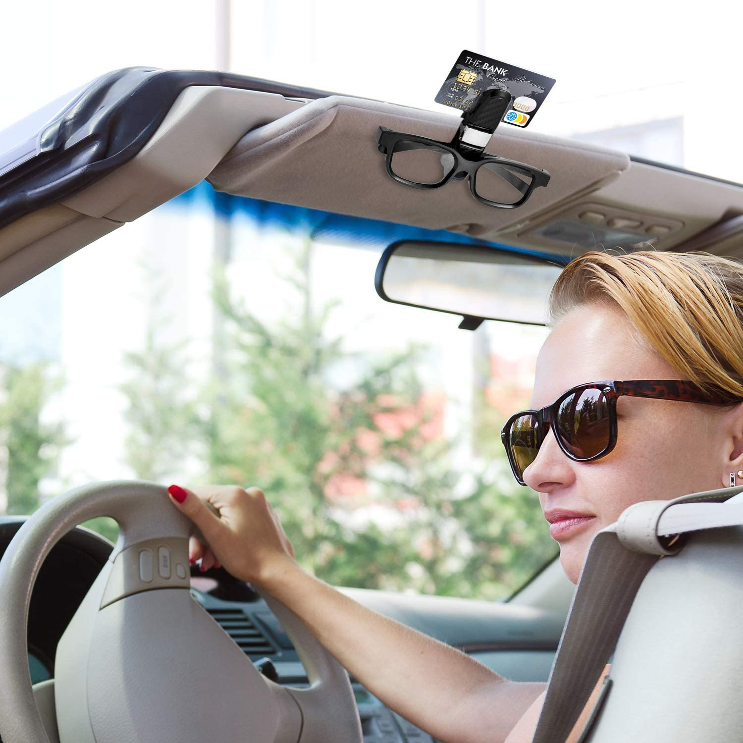 Double-Ends Clip and 180 Degree Rotational Car Glasses Holder with Ticket Card Clip Black, Silver Sunglasses Holder Clip Hanger Eyeglasses Mount for Car 2 Pieces Glasses Holders for Car Sun Visor