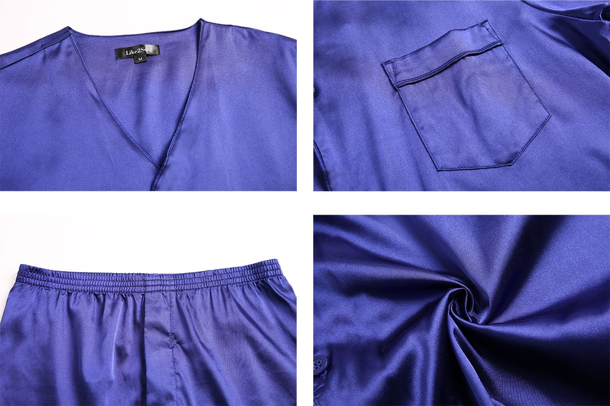 Like2sea Summer Silky Satin Pajamas for Men, Short V-Neck Button Down PJ Set with Mask, Blue, XL by Like2sea (Image #5)
