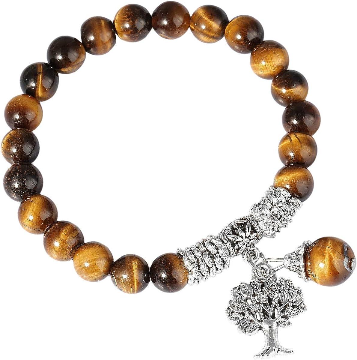 KYEYGWO - Pulsera elástica con perlas de 8 mm, hecha a mano, piedras preciosas naturales, chakras curación, cristal