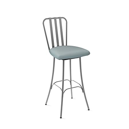 Amisco Club Swivel Metal Counter Stool in Glossy Grey Metal and Light Aqua Blue Polyurethane