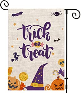 UPINLOOK Trick or Treat Garden Flag Vertical Double Sided, Fall Halloween Burlap Candy Pumpkin Skull Bat Spider Yard Outdoor Decoration 12.5 x 18 Inch