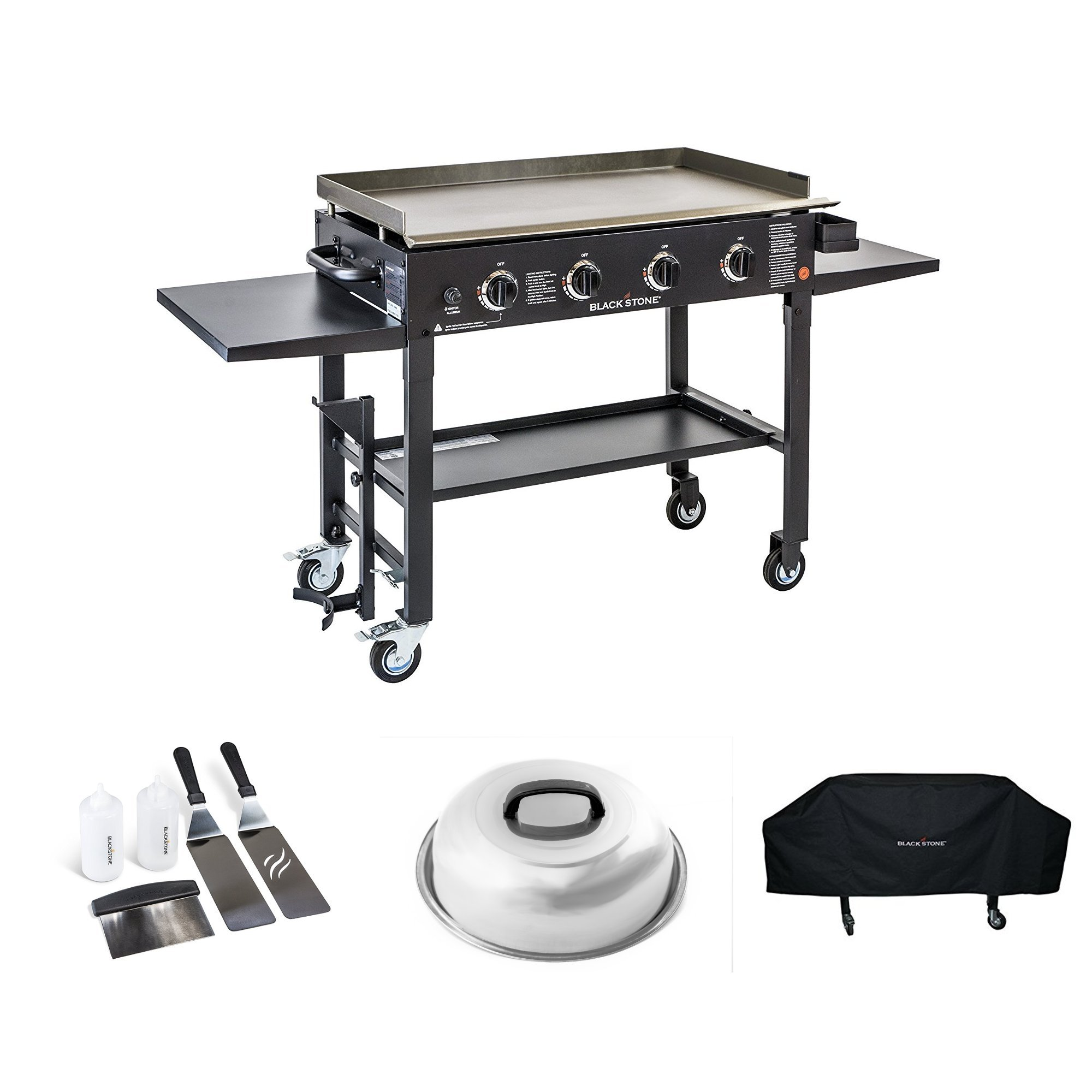 Blackstone 36 inch Outdoor Flat Top Gas Grill Griddle Station Starter Bundle with 4-burner Grill, Cover, Accessory Kit and Melting Dome
