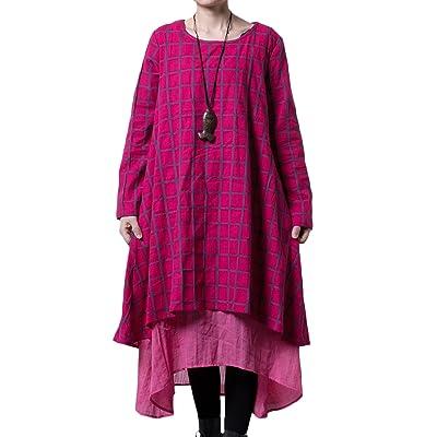 Mordenmiss Women's New Plaid Layers Irregular Hem Dress (Medium, Rose Red) at Women's Clothing store