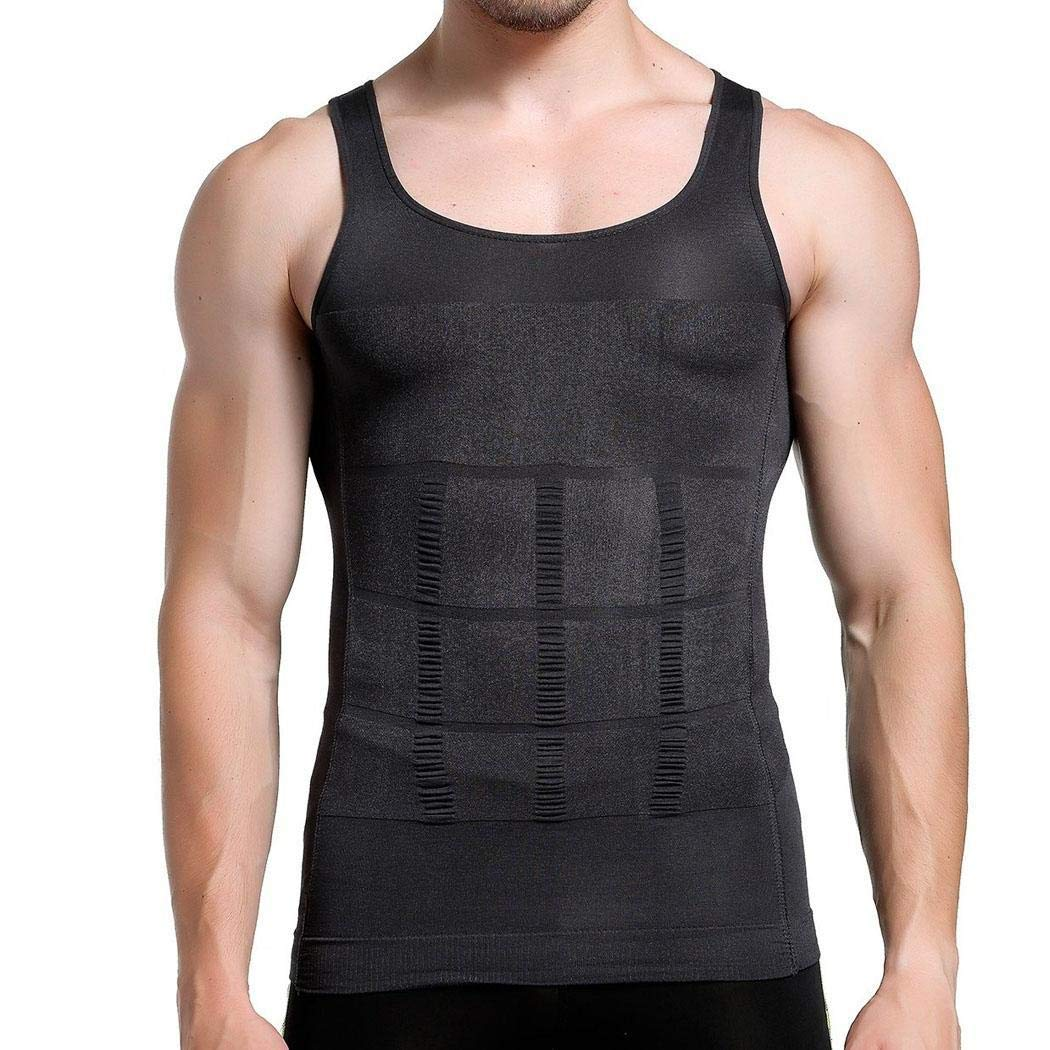 Meharbour Men Slimming Chest Belly Body Shaper Corset Vest Shirt Underwear Active Shirts /& Tees