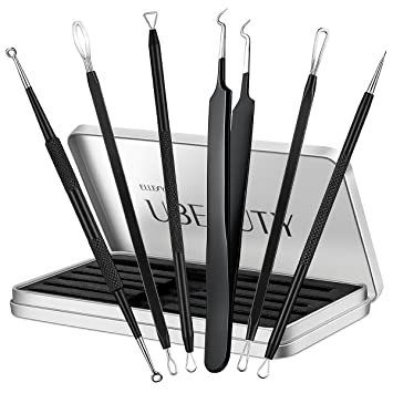 Ellesye Blackhead Remover,6 PCS Pimple Popper Tool with a Metal Storage  Box,Stainless Steel Pimple