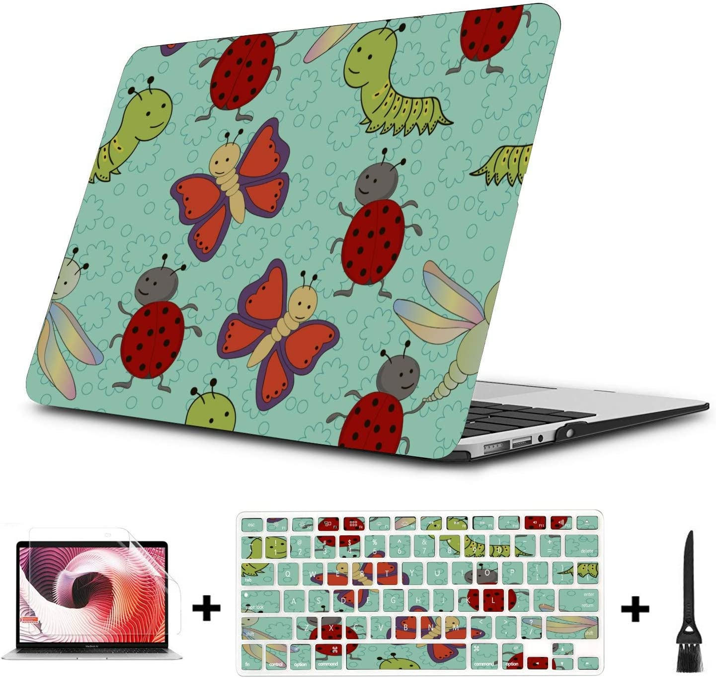 A1706 MacBook Pro Case Small Cute Cartoon Reptile Silkworm Plastic Hard Shell Compatible Mac Air 11 Pro 13 15 MacBook A1466 Case Protection for MacBook 2016-2019 Version