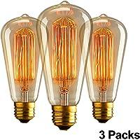 Aurora E27 Edison Ampoule Vintage, E27 Ampoules à incandescence Rétro,ST64 220-240V 40W Edison Ampoule Antique Lampe Blanc Chaud- (3pack)