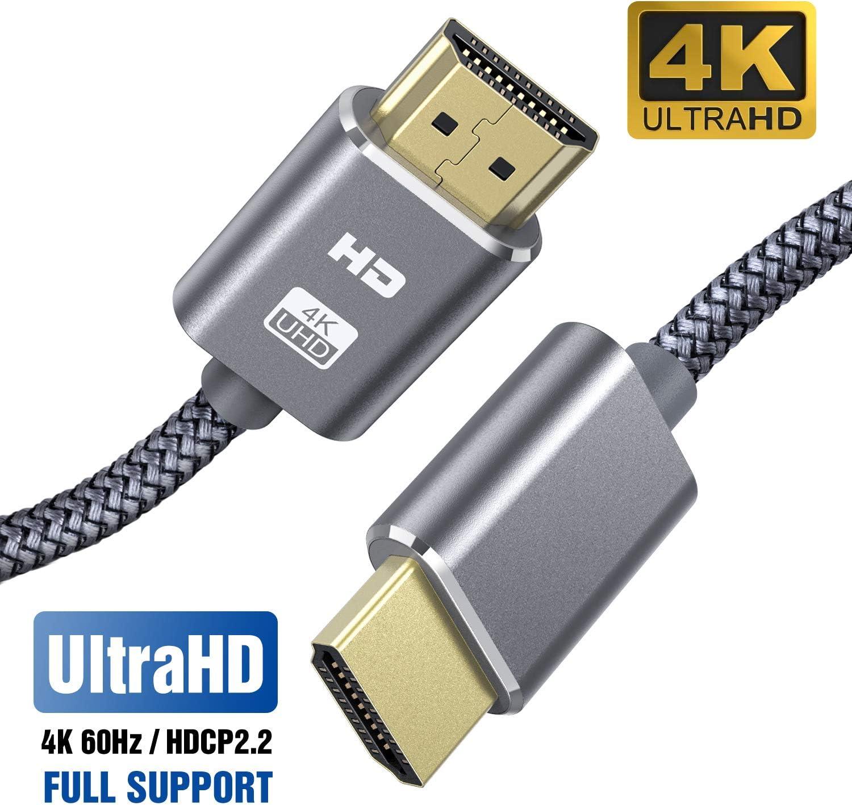 Cable HDMI 4K 2M SUCESO Cable HDMI 2.0 de Alta Velocidad Trenzado de Nailon Ultra HD 4K a 60Hz a 18Gbps Soporta con Video 4K UHD 2160p,HD 1080p,3D,Ethernet,Xbox 360,BLU-Ray PS3 PS4 ARC HDCP 2.2-Gris
