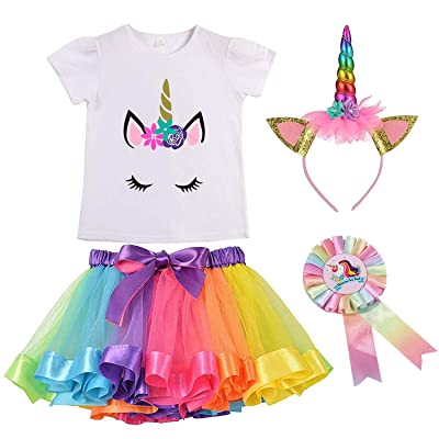 Girls Unicorn Rainbow Layer Tutu Skirts Horn T-Shirt Headband&Unicorn Badge for Birthday Party: Clothing