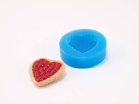 Molde de silicona en miniatura con forma de corazón para tartas, plastilina,