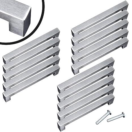 EDELSTAHL Stangengriffe Möbelgriffe Türgriff Küchengriffe eckig 10x10mm griff