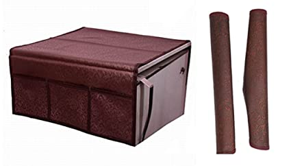 Kuber Industries PVC 1 Piece Fridge Top Cover and 2 Piece Fridge Handle Cover Set - Maroon