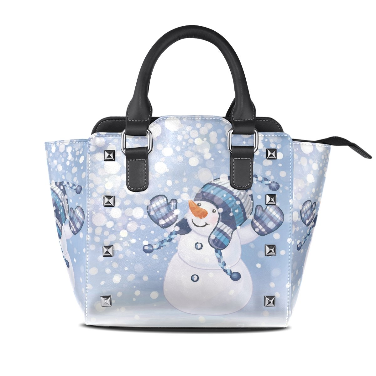 Womens Genuine Leather Hangbags Tote Bags Snowman Purse Shoulder Bags