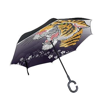 BENNIGIRY Paraguas Reversible Plegable de Doble Capa con Forma de C para Viajar y Usar en