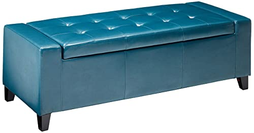 Christopher Knight Home Living Robin Teal Leather Storage Ottoman Bench
