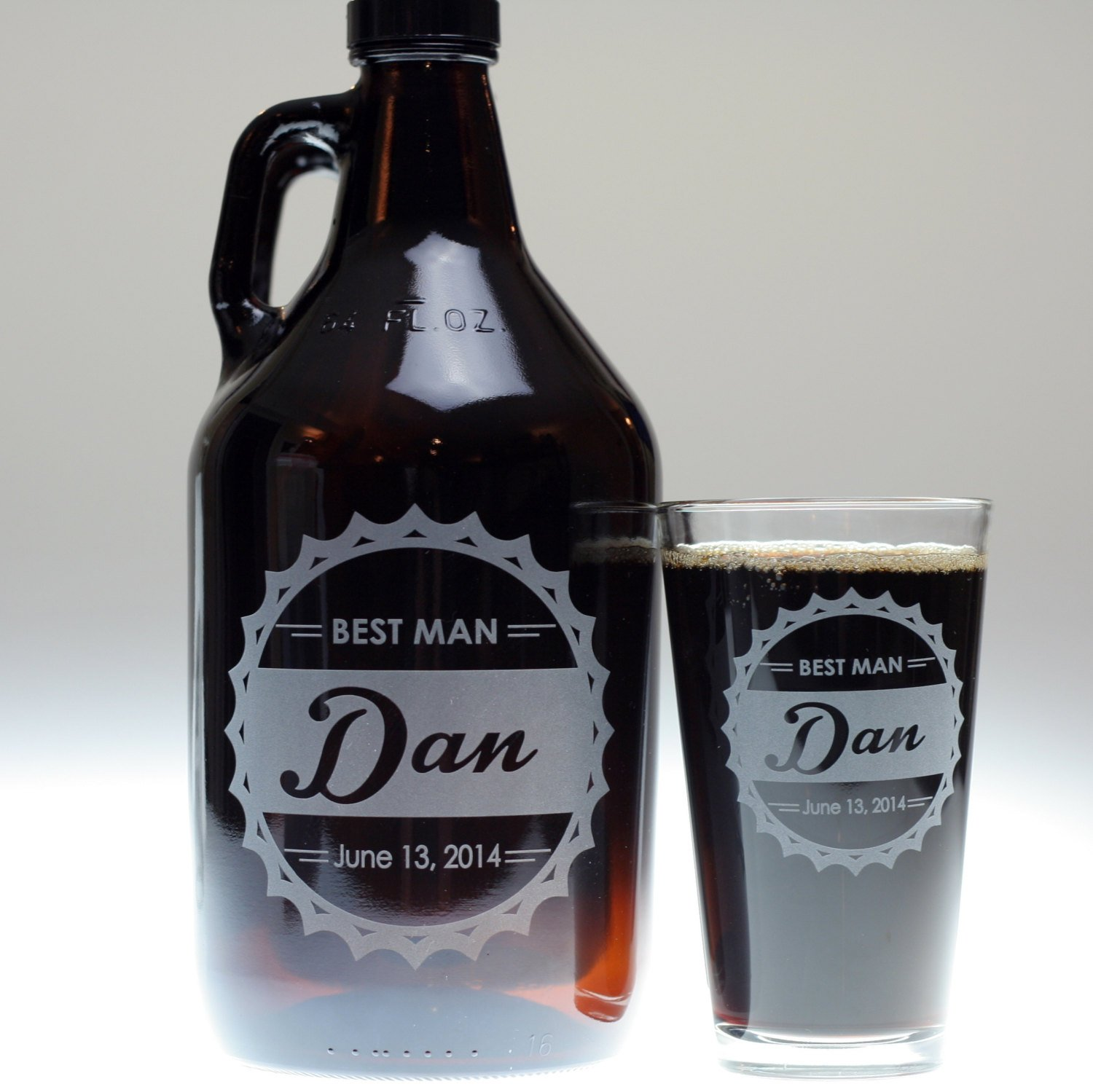 Personalized Engraved Bottle Cap Theme Groomsman Beer Growler Glass Set | Custom Groomsmen Gift