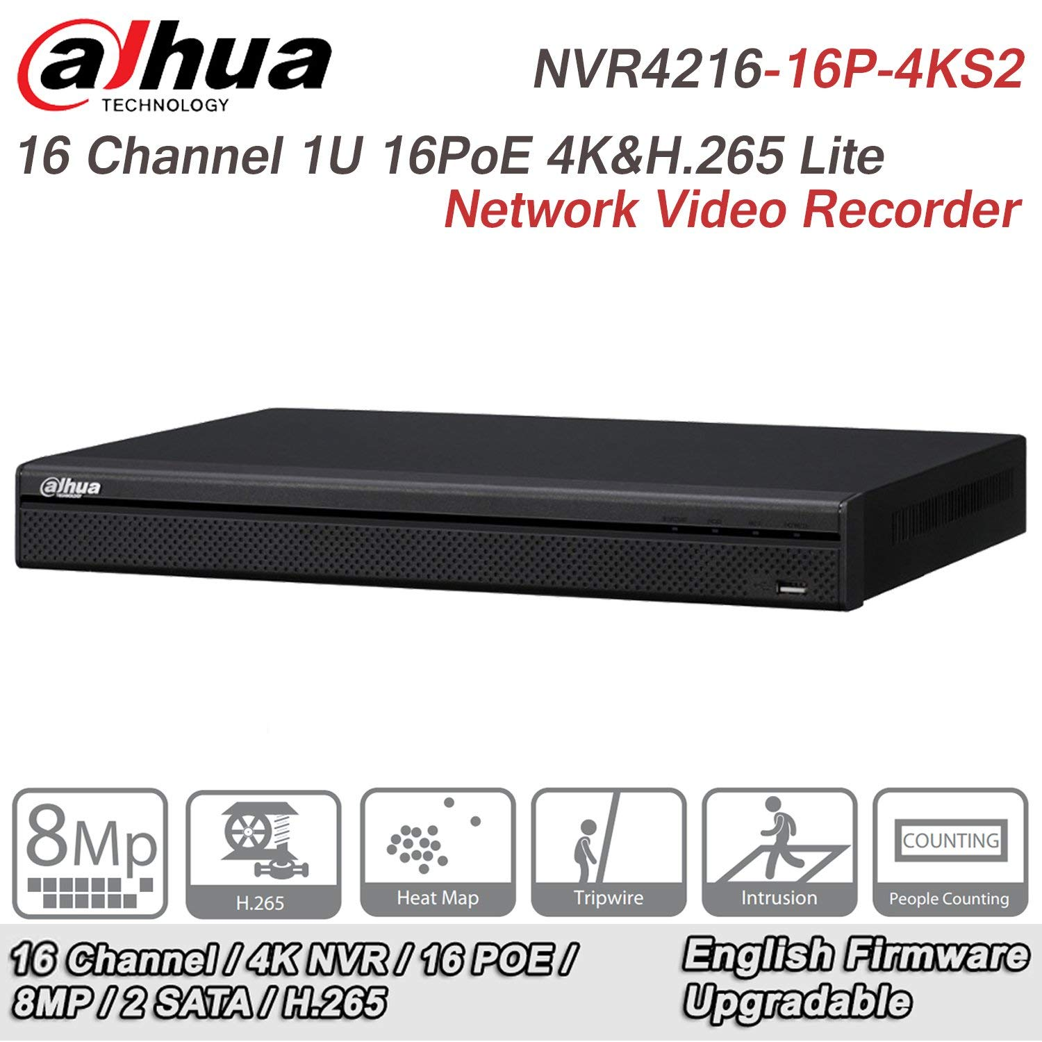 Dahua NVR4216-16P-4KS2 16 Channel 1U 16PoE 4K&H.265 Lite Network Video Recorder Original English Version(Support Firmware upgrade) by HD-IPC