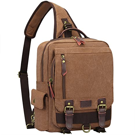 a5933d817f65 Amazon.com  S-ZONE One Strap Sling Canvas Cross Body 13-inch Laptop ...