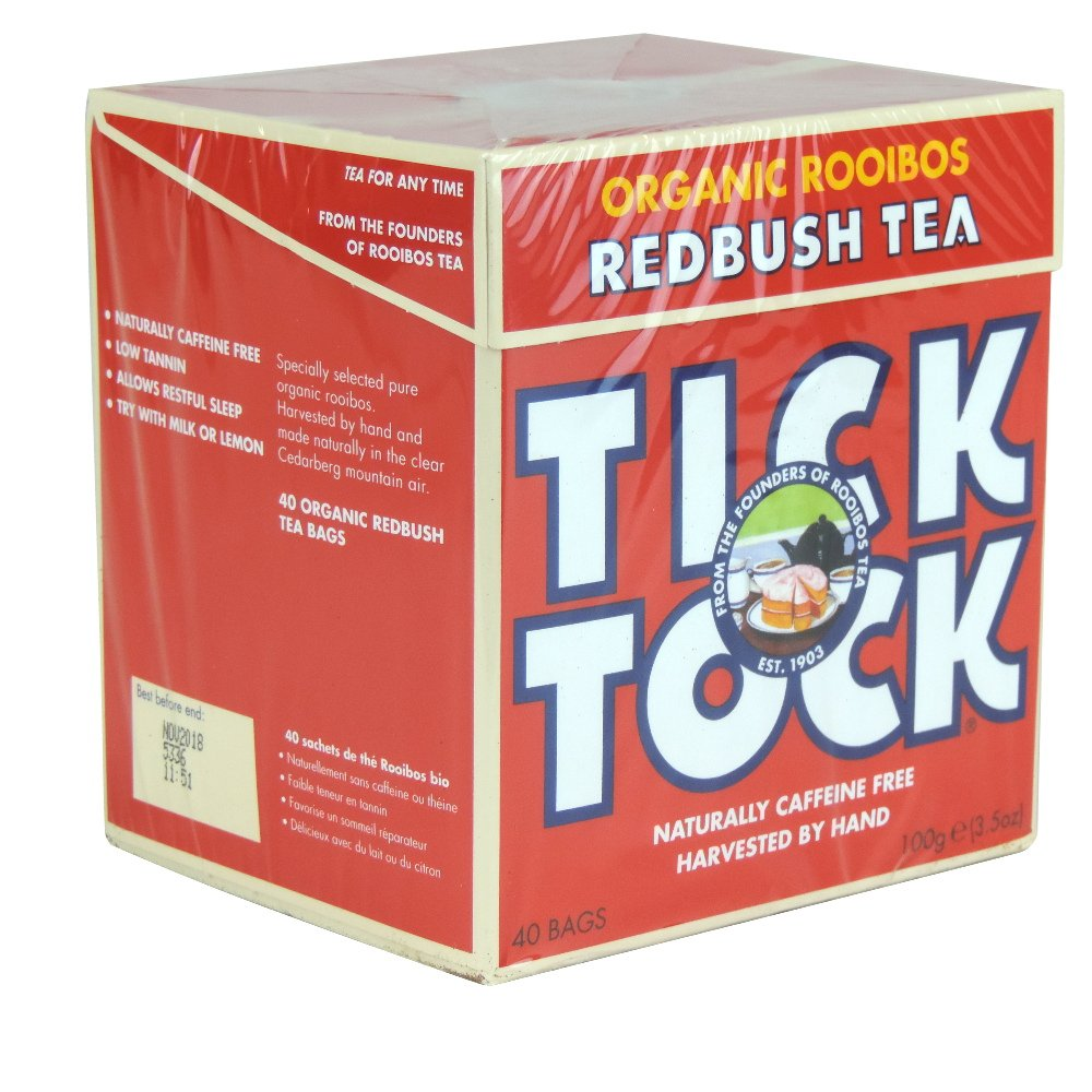 Tick Tock - Organic Rooibos Tea - 40 Bags - 100g (Case of 4) by Tick Tock