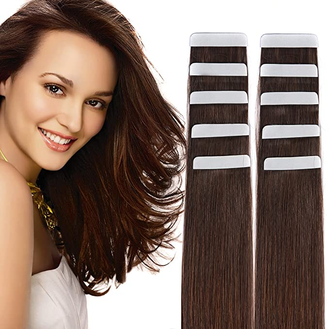 "14"" Tape in Hair Extensions Remy Human Hair Seamless Glue in Tape Hair Extension 20pc 40g/pack Dark Brown #2"