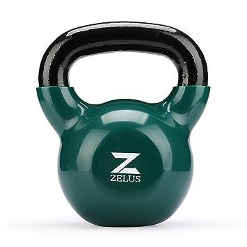 ZELUS Mancuerna oscilante hecha de hierro fundido con revestimiento de vinilo ideal para el entrenamiento de fuerza en casa para Musculación Kettlebell ...