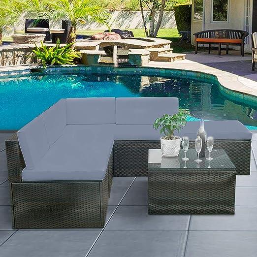 Tuff Concept - Juego de sofá de jardín de 5 plazas de poliratán, Muebles de Exterior y Mesa de Mimbre, Brown Wicker + Dark Grey Cushions: Amazon.es: Jardín