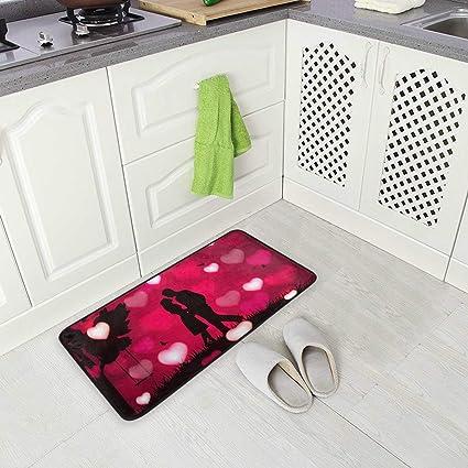 Imagen deBLSYP Kitchen Rugs Valentine's Love Non-Slip Soft Kitchen Mats Bath Rug Runner Doormats Carpet for Home Decor(28)