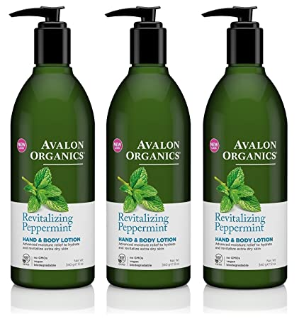 Avalon Organics Peppermint Hand and Body Lotion, 12-ounce Bottle Set of 3