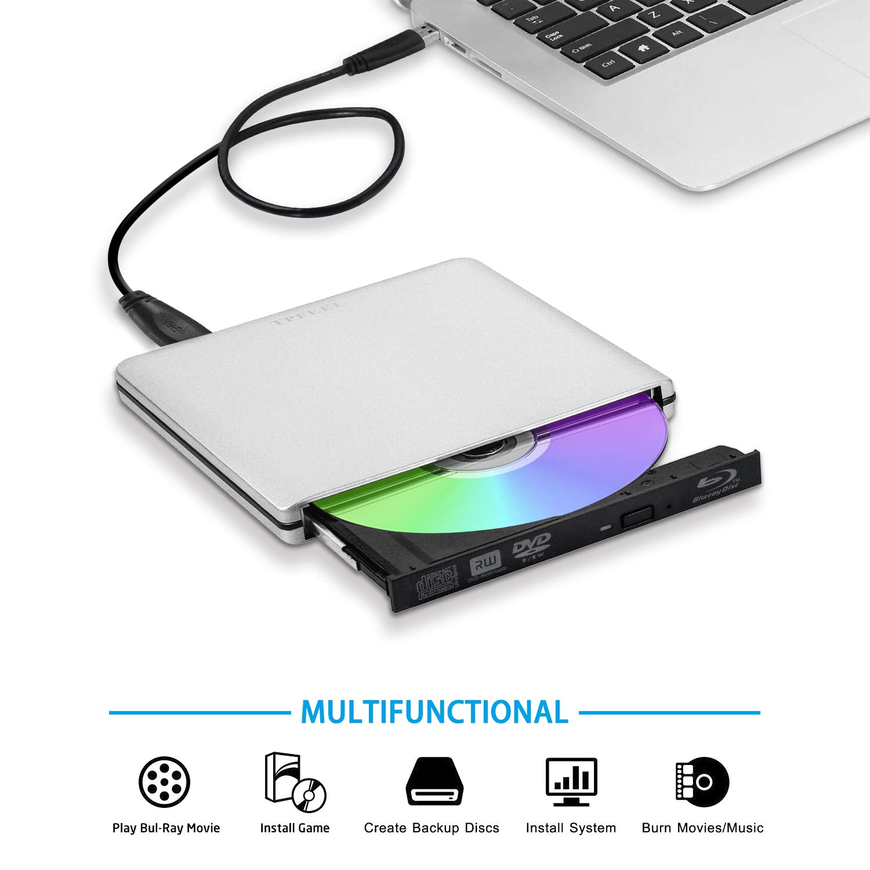 External USB3.0 Blu Ray Burner Drive USB C Aluminum Portable CD DVD BD Burner Writer 3D 6X Blu-ray Disc Playback Super-Fast Transmission for Windows Mac OS Laptop PC Computer(Silver)