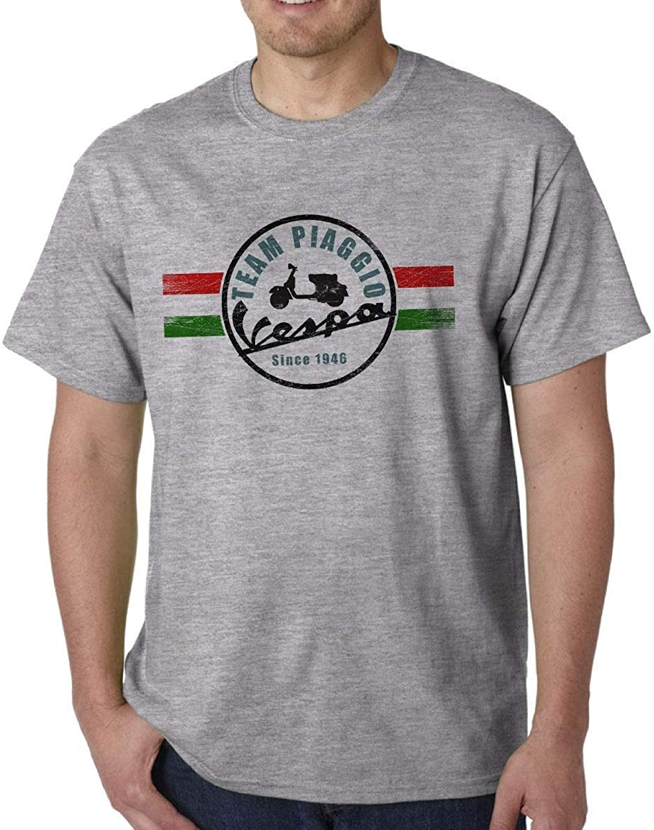 Classic Vespa Scooter Retro Italian Mods Distressed Print Sport Grey T-Shirt Mens Round Neck Short Sleeves Cotton T Shirt Fashion Casual Tops Clothing Ideal Gift