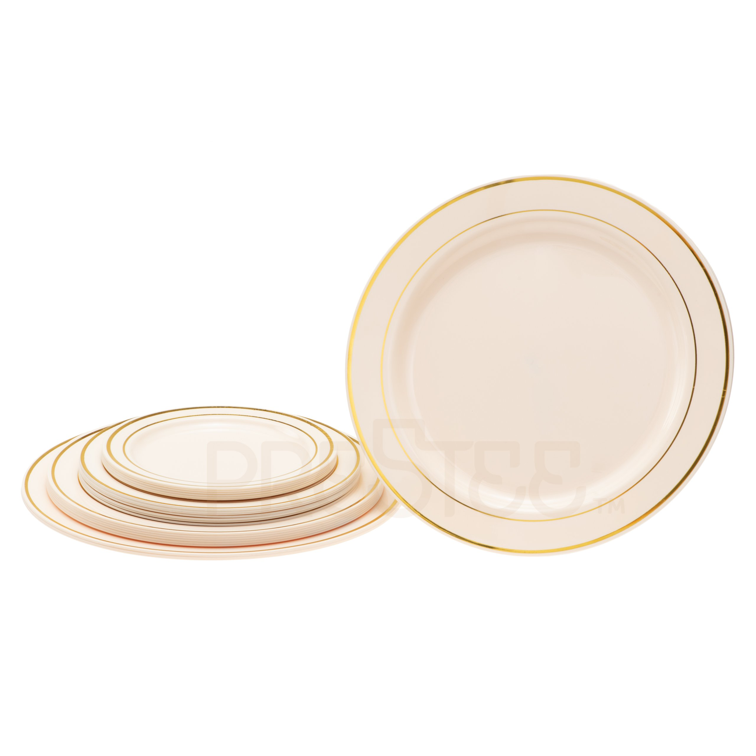 DELUXE PLASTIC PARTY DISPOSABLE PLATES | 10.25 Inch Hard Wedding Dinner Plates | Ivory with Gold Rim, 20 Pack | Elegant & Fancy Heavy Duty Party Supplies Plates for all Holidays & Occasions