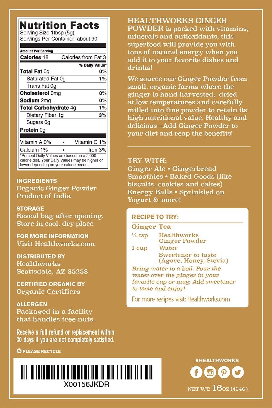 Healthworks Ginger Powder Raw Organic, 1lb by Healthworks (Image #6)