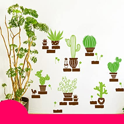 Popular DIY Cactus Removable Wall Decal Family Home Sticker Mural Art Decoration