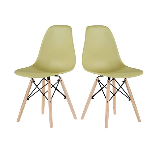 EiioX Dining Chairs Set of 2 Wooden Legs, Pre Assembled Indoor Armless Plastic Lounge for Kitchen, Livingroom, Bedroom, Green