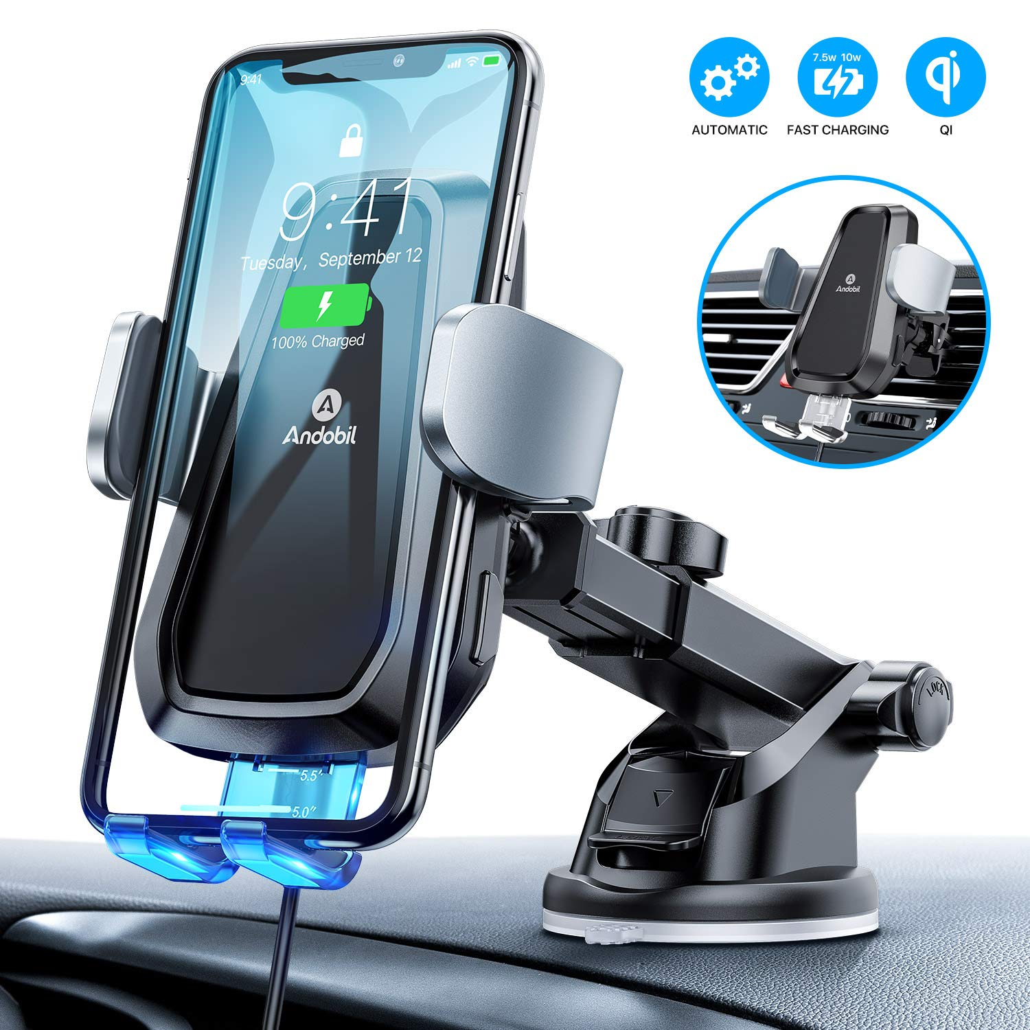 Andobil Wireless Car Charger Mount, Auto Clamping Air Vent Dashboard Windshield Phone Holder Compatible iPhone 11/11 Pro/ 11 Pro Max/Xs Max/Xs/XR/X/8+/8, Samsung S10+/S10/S9+/S9/S8+/S8 by andobil