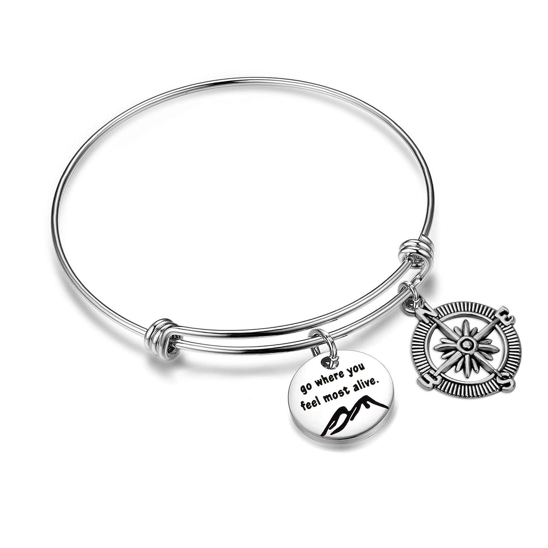 KUIYAI Go Where You Feel Most Alive Compass Bracelet Journey Jewelry