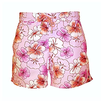 5453c77c9d Bayahibe Swimwear Shorts Slim Fit Quick Dry French Swim Trunk for Men and  Boys with Pink Flowers   Amazon.com