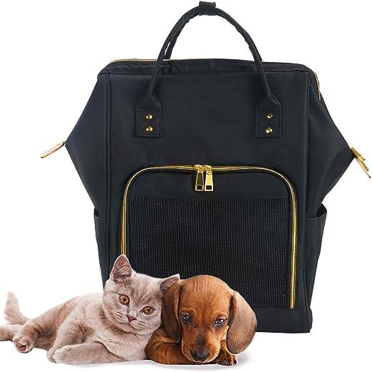 Mochilas Gatos Perros Conejo Plegable Transpirable Pet Backpack Fashion Transportín para Viaje Avión Tren con Manija Resistente y Ventana de Malla (Negro): Amazon.es: Productos para mascotas
