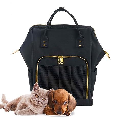 Mochilas Gatos Perros Conejo Plegable Transpirable Pet Backpack Fashion Transportín para Viaje Avión Tren con Manija
