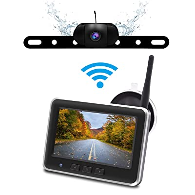 Wireless Backup Camera Monitor Kit,IP68 Waterproof License Plate Reverse Rear View Back Up Car Camera,4.3\' TFT LCD Rear View Monitor for Cars, SUV Accfly [5Bkhe1501845]