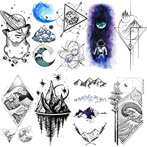 VANTATY 9 Sheets Black Mountain Minimalist Temporary Tattoo Stickers For Men Women Body Art Fake Forearm Geometric Star Planets Sea Waterproof Tattoo For Children Space Design Tatoos