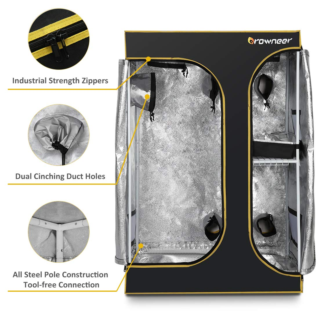 Upgraded for Hydroponic Indoor Plant Germination Growing w//Easy View Window /& Floor Tray GROWNEER 36x24x53 Lodge Propagation Tent 2-in-1 Mylar 600D Hydroponic Indoor Grow Tent