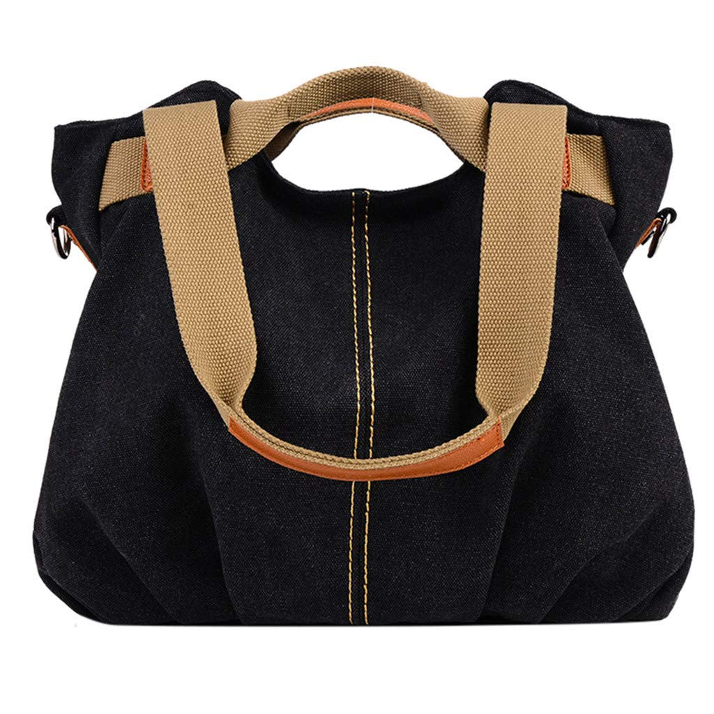 Women Canvas Large Capicity Bag,NDGDA Ladies Leisure Solid Color Shoulder Bag Messenger Bag Hand Bag Travel Bag by NDGDA 👜 Shoulder Bag