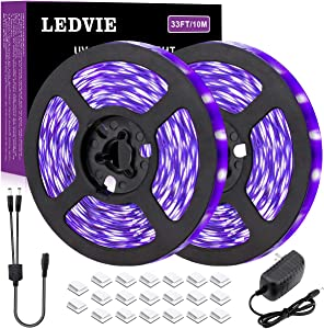 LEDVIE 33ft UV LED Black Light Strip Kit, 10m Flexible UV LED Strip Lights, 12V Blacklight Ribbon, Rope Black Light for Glow Party, Room Decor, Fluorescent Dance Party, Body Paint, Aquarium